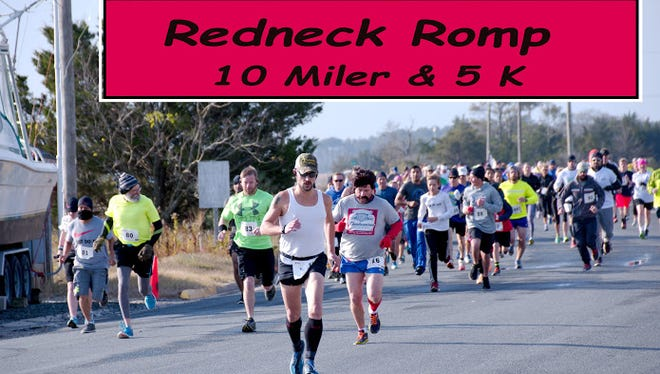 The Redneck Romp 10-miler and 5k took place on Nov. 26, 2016 at Powell Memorial Park in Wachapreague, Virginia. It was the third annual race to benefit Waste Watchers of the Eastern Shore and to promote tourism.