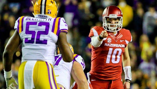 Mississippi State prepares for Brandon Allen (10) and Arkansas' balanced offense.