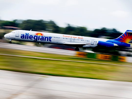 An Allegiant Air flight takes off at McGhee Tyson Airport
