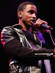 Singer Trey Songz speaks at a press conference at the