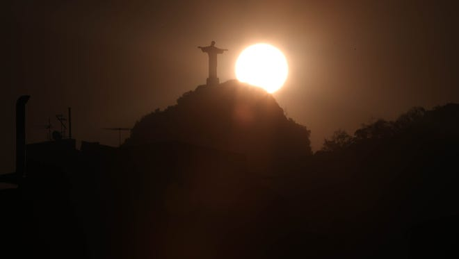 A general view of  the Christ the Redeemer statue prior to the start of the Rio 2016 Olympic Games.