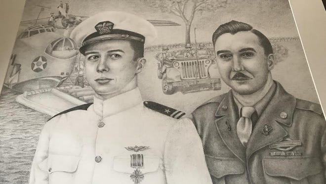 This pencil drawing by Kendall Schreder from Bedford High School took first place in the Patriotic Art contest sponsored by the Auxiliary to Erie Post 3925, Veterans of Foreign Wars, in Erie.