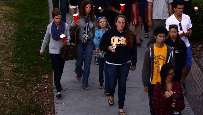 Vigil at the University of California-Santa Barbara on Saturday.