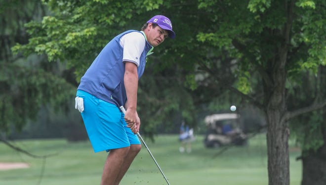 Hopewell, NJ NJSIAA Tournament of Champions high school golf at the Hopewell Valley County Club. Reid Bedell of Rumson-Fair Haven. 051815