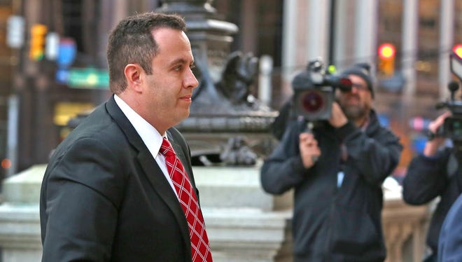 Jared Fogle enters the Birch Bayh Federal Building and United States Courthouse for sentencing, Thursday, November 19, 2015.
