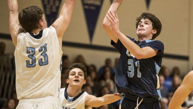 CBA sophomore Stephen Braunstein takes a shot in a Class A North game against Freehold Township on Friday, January 27, 2017.