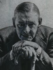 Poet T.S. Eliot is shown in a 1954 photo.