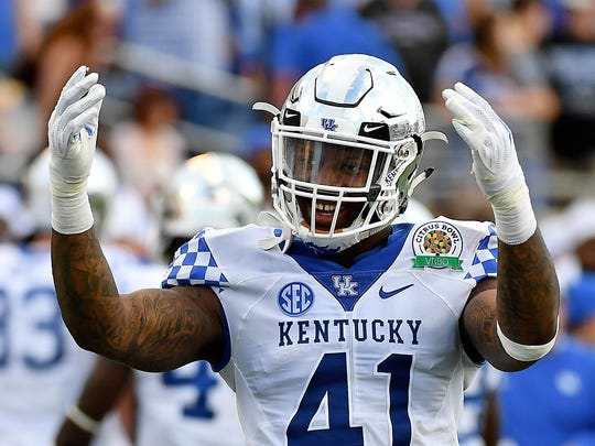 Jan 1, 2019; Orlando, FL, USA; Kentucky Wildcats linebacker Josh Allen (41) reacts to the crowd during the second half against the Penn State Nittany Lions in the 2019 Citrus Bowl at Camping World Stadium. Mandatory Credit: Jasen Vinlove-USA TODAY Sports ORG XMIT: USATSI-382988 ORIG FILE ID:  20190102_jfv_bv1_102.jpg