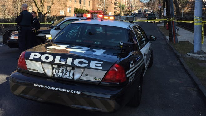 Yonkers police block off Broadway at the corner of Lamartine Avenue on Wednesday, March 9, 2016. The Westchester County bomb squad has been called in to investigate a possible explosive device.