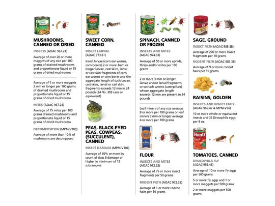 This graphic shows the amounts of insects that the FDA allows in food.