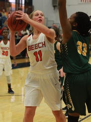 Beech's Kennedy Powell is guarded by Gallatin's Jeremia