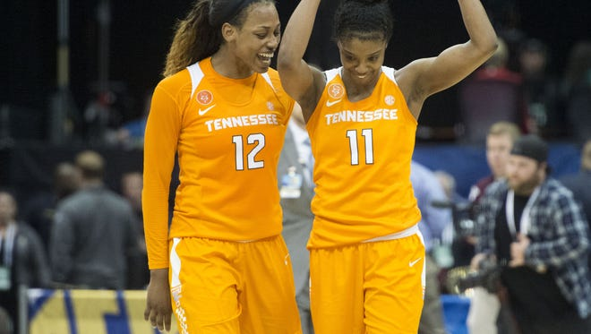 Tennessee's Bashaara Graves, left, and Diamond DeShields combined for 40 points and 13 rebounds in a win over Texas A&M in the women's SEC Tournament last month.