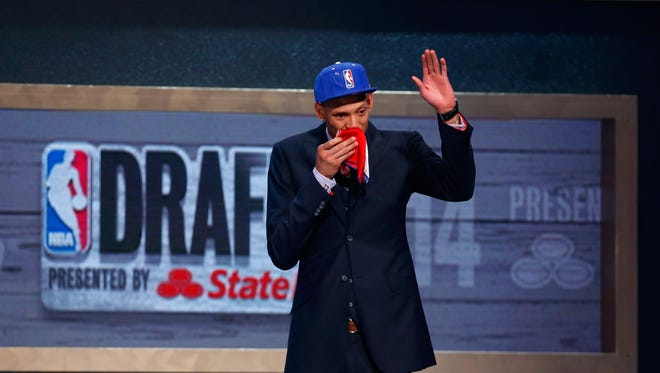 Isaiah Austin of Baylor in honored on stage during the 2014 NBA Draft at Barclays Center on June 26, 2014 in the Brooklyn borough of New York City.