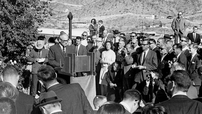 Sen. Barry Goldwater on Jan. 3, 1964, announcing from the patio of his Paradise Valley home that he would seek the Republican presidential nomination. Donald Trump, the 2016 presumptive GOP presidential nominee, is set to appear June 18, 2016, at a fundraiser at the former Goldwater home. Goldwater died in 1998 at age 89.