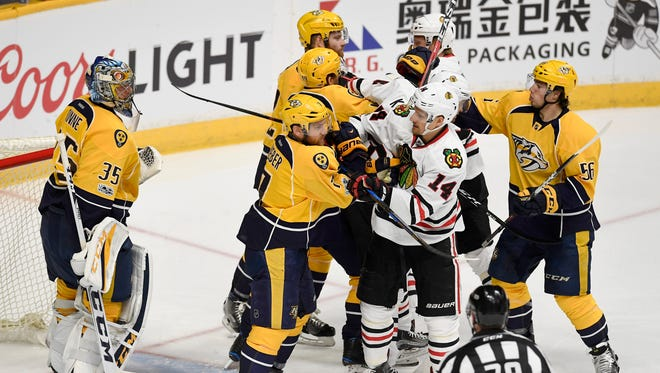 The Predators and Blackhawks play each other four times this season, starting with two October games in Chicago.