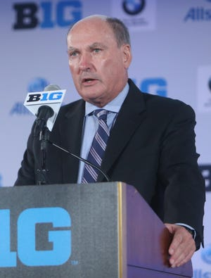 """Big Ten Commissioner Jim Delany, shown here on July 24, says """"We have to do the right thing for the college community, but we also have to do the right thing for ourselves."""""""