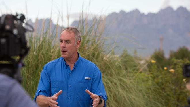 Ryan Zinke, the U.S. secretary of the interior, gives a news conference at the New Mexico Farm and Ranch Heritage Museum, Thursday July 27, 2017. During the news conference Zinke described the helicopter tour he took early Thursday, his impressions of the monument and the process for deciding its future.