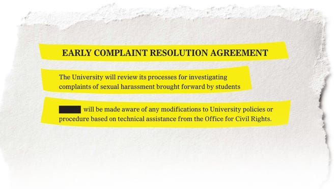 Excerpts from an agreement, entered between UVM and a student, asks UVM to take a look at how they investigate sexual harassment.