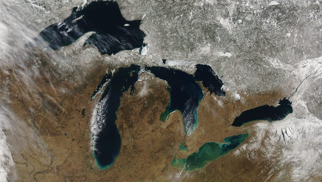 A view of the Great Lakes from space.
