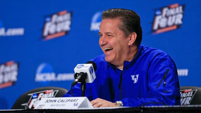 """Kentucky head coach John Calipari said """"Our jobs are to help them grow on and off the court. We've had 10 kids graduate, we've graduated kids in three years. We'll have four on this year's team. We've had a 3.0 grade point average for five straight years"""" while answering media questions at the podium Thursday at the Final Four in Indianapolis at Lucas Oil Stadium. By Matt Stone, The C-J April 2, 2015. Kentucky head coach John Calipari jokingly said to Wisconsin's Frank Kaminsky outside the interview room """"Look I'm so tired of looking at your tape right now"""" while answering media questions with Wisconsin coach Bo Ryan at the podium Thursday at the Final Four in Indianapolis at Lucas Oil Stadium. By Matt Stone, The C-J April 2, 2015."""