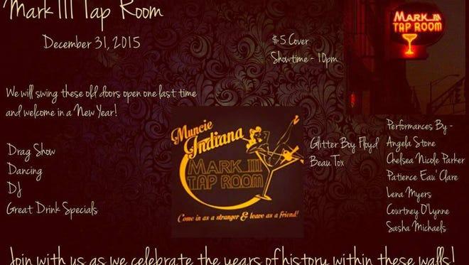Muncie Bar, Mark III Tap Room will hold one last celebration on Thursday, Dec. 31.