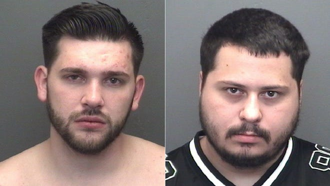 Derek Daniel Knight (left) and Dylan Charles Garrett were arrested on preliminary charges of fraud early Saturday, Oct. 21, 2017.