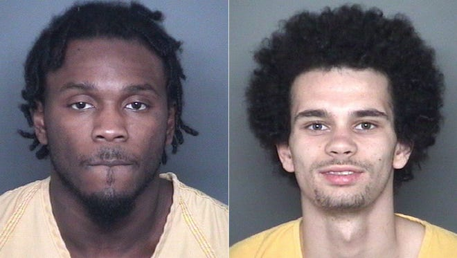 Deshay Hackner (left) and William Rice are each charged with two counts of murder in the deaths of 29-year-old Dewone Broomfield and 28-year-old Mary Patrice Chalonda Woodruff.