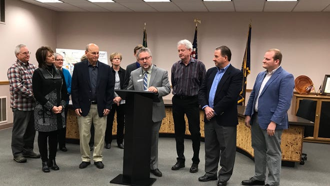 Bob Trezise, president and CEO of  the Lansing Economic Area Partnership, speaks a press conference Wednesday about XG Sciences, Inc.'s expansion project.