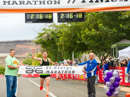 Jonathan B Kotter wins the 42nd annual St. George Marathon with a time of 2:16:18.26 Saturday, October 6, 2018.