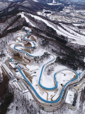 An aerial view of the Olympic sliding center.