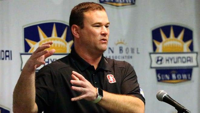 Stanford Cardinal offensive coordinator Mike Bloomgren talks of his team's matchup against the North Caroline Tar Heels in this Friday's 83rd Annual Hyundai Sun Bowl game during a press conference Wednesday at the Hawthorn Suites.