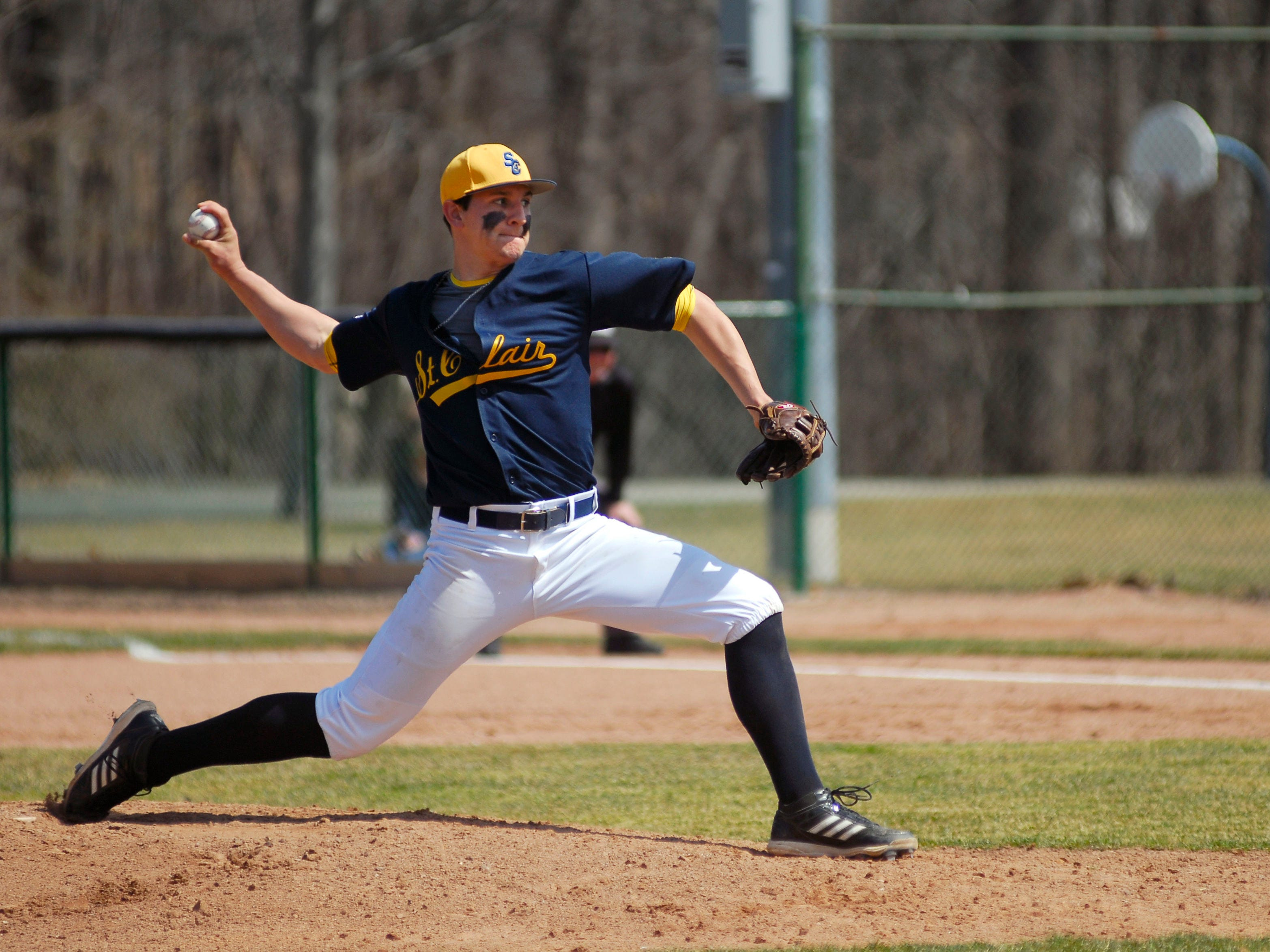 Mitchell Ward delivers a pitch April 12 during a game against Ancilla College.