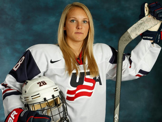 Team USA women's hockey forward Amanda Kessel poses at a portrait session during the Team USA Media Summit at Canyons Grand Summit Hotel.