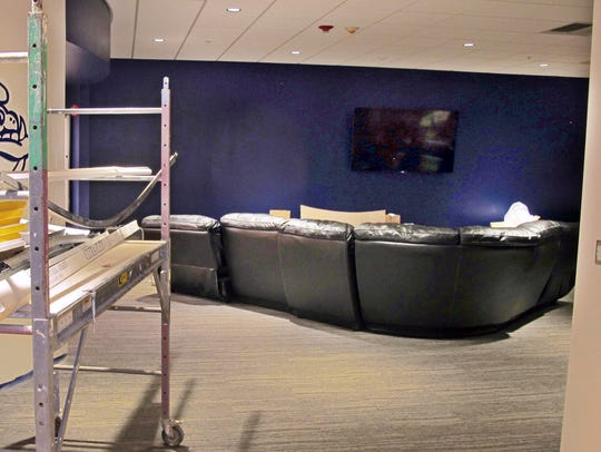 A lounge in a new locker room at Gonzaga's McCarthey