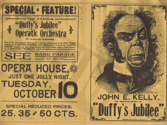 An 1899 advertisement promoting Duffy's Jubilee, which was a troupe of Irish actors that toured the country from the 1880s to the early 1900s and made frequent stops in Middlebury and other Vermont towns.