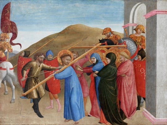 """Sassetta, """"The Procession to Calvary,"""" 1437-44. Tempera on poplar panel, panel with 1-inch frame and cradle: 19 1/8  x 25 1/4  x 1 1/2  in. Organizing curator Trinita Kennedy will lead a gallery tour on Jan. 16"""