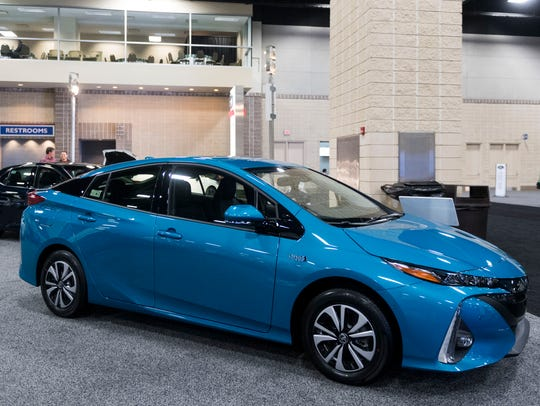 A Toyota Prius was on display at last year's Knox News Auto Show. This year's event will include new cars from Toyota and Chevrolet.