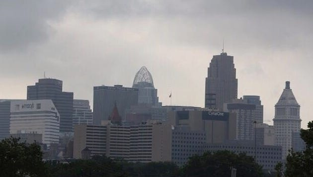 Cloudy sky over downtown Cincinnati on a Thursday morning.