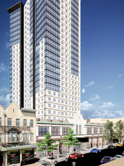 The first project under New Rochelle's new downtown zoning code will be a 28-story mixed-use development that includes a performance space.