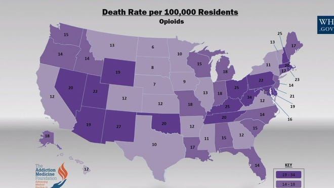 Death rates per 100,000 residents from opioids in the U.S.