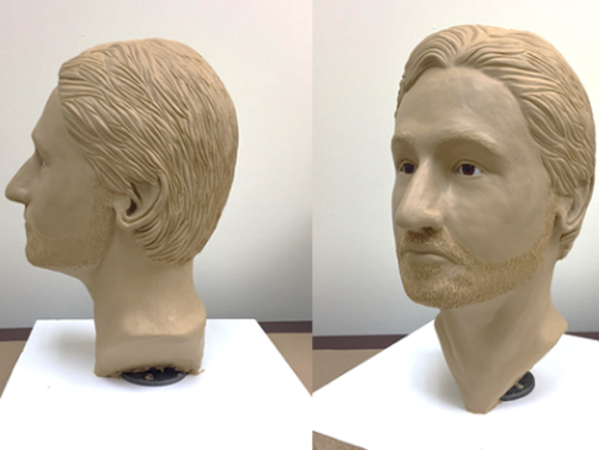 Different angles of the facial reconstruction of a