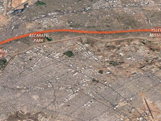 The proposed Paso del Norte Trail would follow the