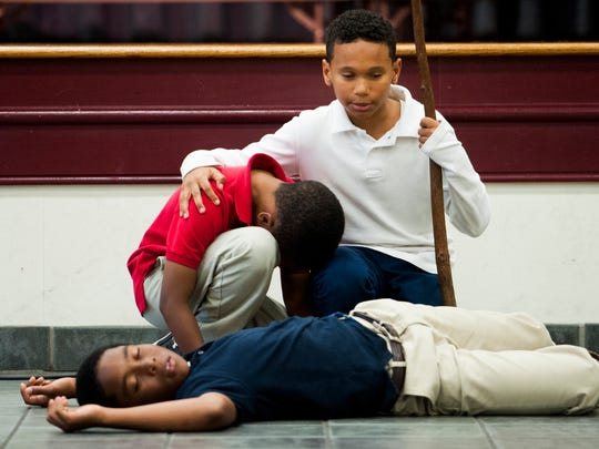 Halcyon Elementary School students rehearse for their