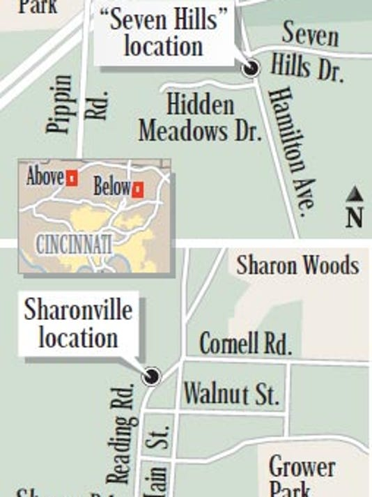 Map shows location of Sharonville and Seven Hills BMV locations.