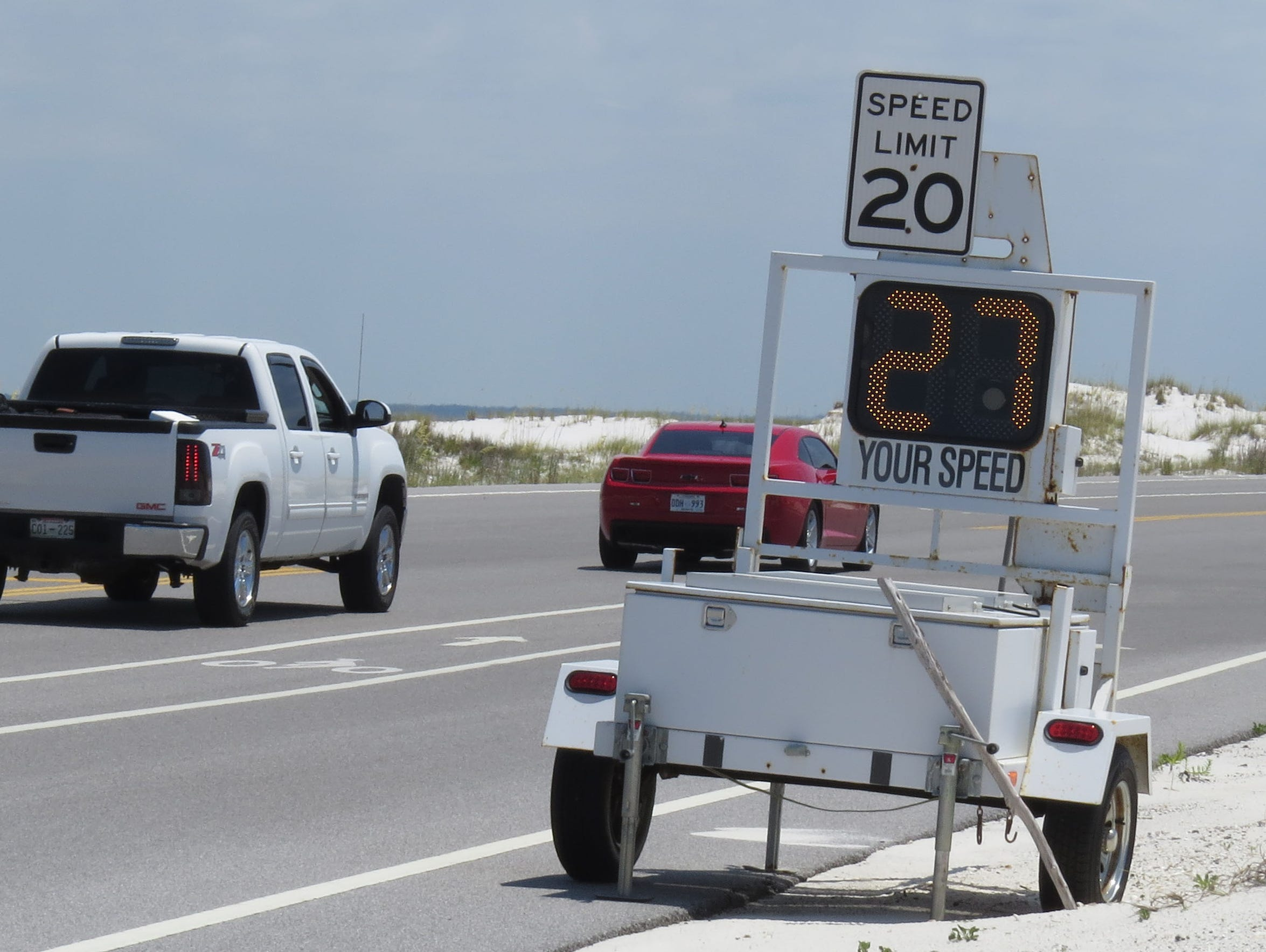 Speed advisory signs are put up around the shorebird