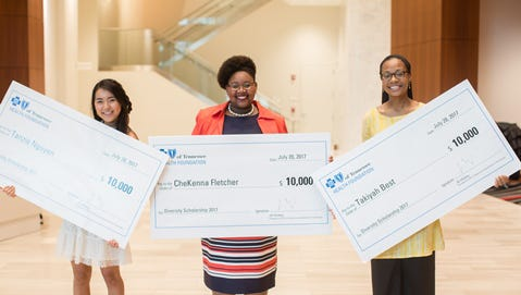 BlueCross Diversity Scholarship recipients (left to right) Tanzie Nguyen (University of Tennessee), CheKenna Fletcher (Tennessee State University) and Takiyah Best (University of Memphis).