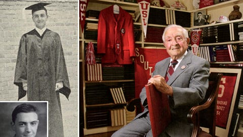 Saloom is seen on his 1939 graduation day, as freshman class president in 1935, and in a portrait taken at the UL Lafayette Alumni Center in 2007.