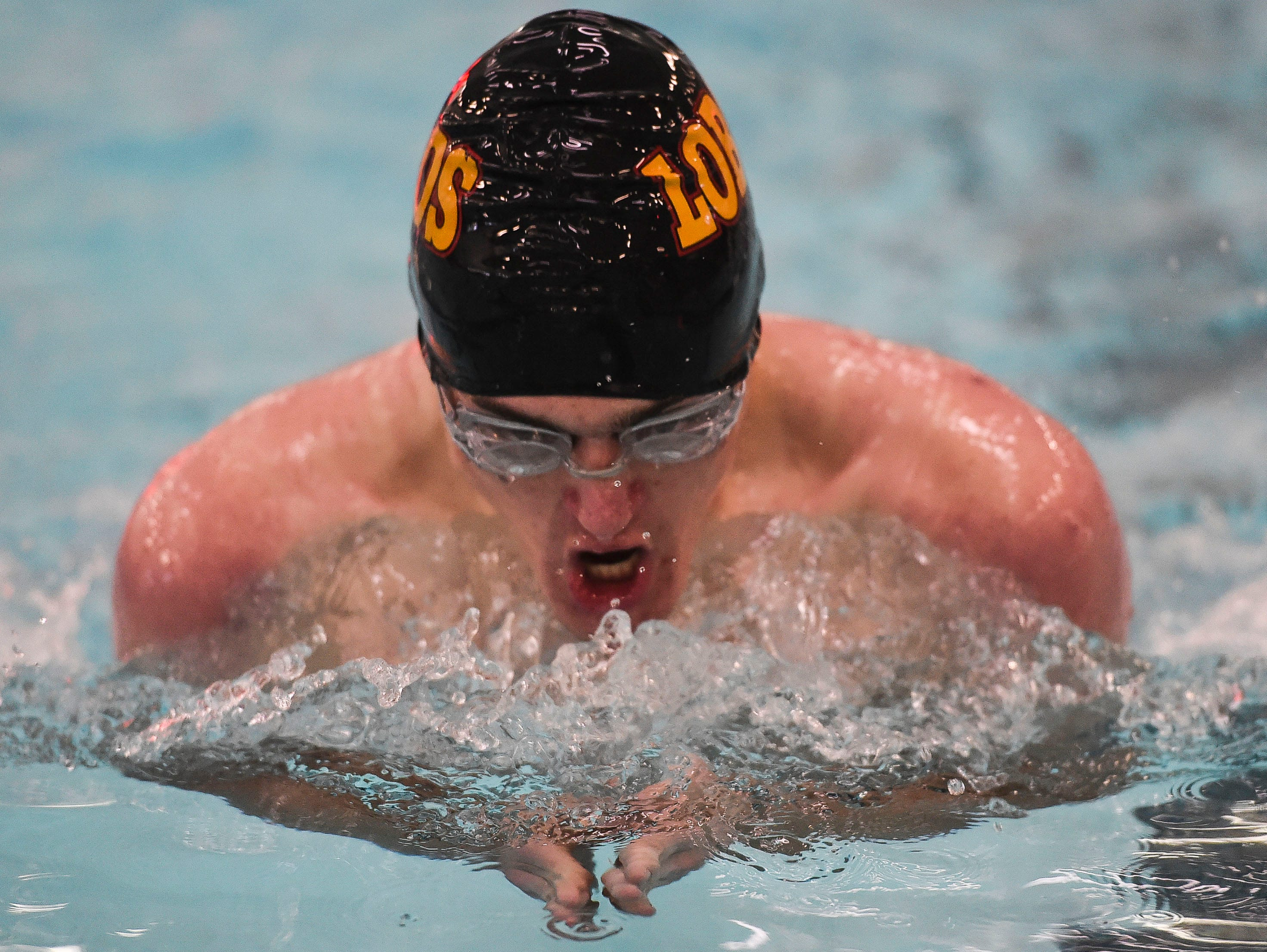 Will Morgan, shown competing in a race last season, swam on two winning relay teams Thursday for the Lobos in a win over cross-town rival Poudre at Edora Pool Ice Center.