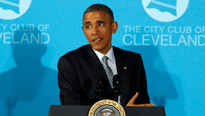 US President Barack Obama delivers remarks to the City Club of Cleveland.