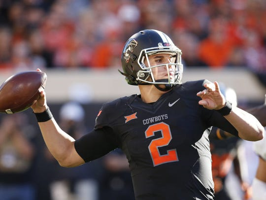 Oklahoma State quarterback Mason Rudolph threw for